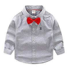 billige Overdele til drenge-Børn Drenge Basale Geometrisk Broderi Langærmet Normal Bomuld Skjorte Hvid