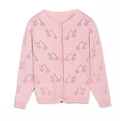 billige Sweaters og cardigans til piger-Børn Pige Kirsebær Ensfarvet Langærmet Trøje og cardigan