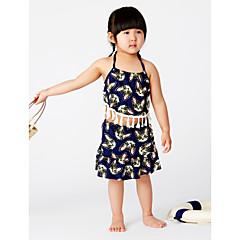 billige Badetøj til piger-Børn Pige Strand Geometrisk Trykt mønster Uden ærmer Polyester Badetøj Navyblå En Størrelse / Sødt