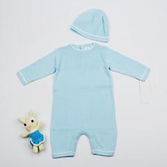 billige Sett med babyklær-Baby Pige Aktiv Daglig / I-byen-tøj Ensfarvet Langærmet Normal Normal Bomuld Tøjsæt Lyseblå