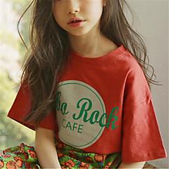 billige Pigetoppe-Børn Pige Boheme Geometrisk Kortærmet Bomuld T-shirt