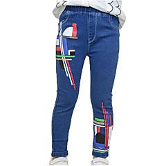 billige Jeans til piger-Børn Pige Basale / Gade Sport Stribet / Trykt mønster Trykt mønster Bomuld Jeans