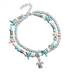 baratos Bijoux de Corps-Camadas tornozeleira - Resina Tartaruga, Estrela do Mar Férias, Bikini, Fashion Azul Para Feriado Mulheres