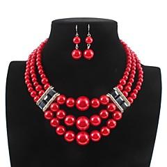 baratos Conjuntos de Bijuteria-Mulheres Camadas Conjunto de jóias - Imitação de Pérola Estiloso, Clássico Incluir Brincos Compridos / Colar Branco / Vermelho Para Diário