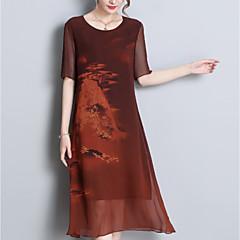 vestido de mudança de linho das mulheres midi
