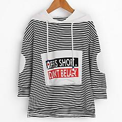billige Hættetrøjer og sweatshirts til piger-Børn Pige Stribet Langærmet Hættetrøje og sweatshirt