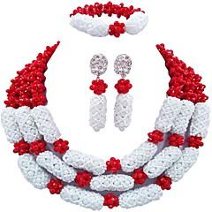 baratos Conjuntos de Bijuteria-Mulheres Camadas Conjunto de jóias - Cristal Austríaco Bola Fashion Incluir Brincos Compridos / Pulseira / colares em camadas Verde / Rosa / Champanhe Para Festa