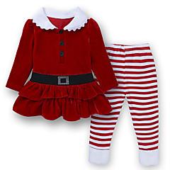 billige Tøjsæt til piger-Børn / Baby Pige Gade Jul / Skole / Fødselsdag Stribet Langærmet Normal Normal Bomuld / Polyester Tøjsæt Rød 100