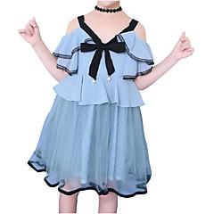 baratos Roupas de Meninas-Infantil Para Meninas Retalhos Manga Curta Vestido