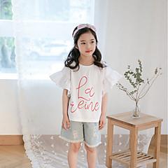 billige Pigetoppe-Børn Pige Aktiv Daglig Trykt mønster Halvlange ærmer Bomuld T-shirt Hvid 140