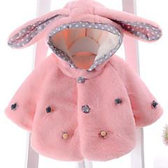billige Overtøj til babyer-Baby Pige Basale Ensfarvet Langærmet dun- og bomuldsforet
