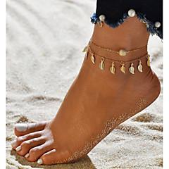 baratos Bijoux de Corps-Fio Único tornozeleira - Formato de Folha Na moda, Romântico, Doce Dourado Para Presente Para Noite Mulheres