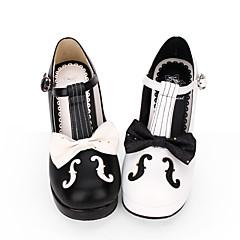 billige Lolitasko-Sko Gotisk Lolita Søt Lolita Prinsesse Lolita Gotisk Konisk hæl Sko Linjer / bølger Sydd Blonde 6.5 cm CM Hvit / Svart Til PU Leather Halloween-kostymer