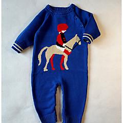 billige Babytøj-Baby Pige Basale Ensfarvet / Trykt mønster Langærmet Bomuld Overall og jumpsuit