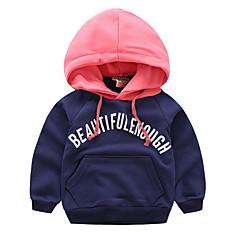 billige Hættetrøjer og sweatshirts til drenge-Børn Drenge Basale Trykt mønster / Farveblok Langærmet Bomuld Hættetrøje og sweatshirt Navyblå