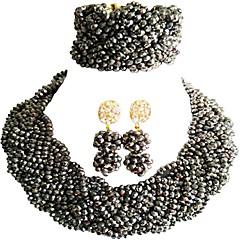 baratos Conjuntos de Bijuteria-Mulheres Camadas Conjunto de jóias - Cristal Austríaco MOON Fashion Incluir Strands Necklace Vermelho / Rosa / Champanhe Para Festa Graduação