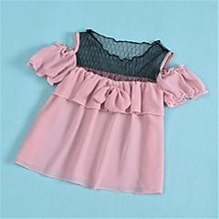 billige Babyoverdele-Baby Pige Basale Ensfarvet Kortærmet Bluse