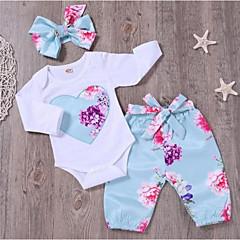 billige Sett med babyklær-Baby Pige Aktiv / Basale Sport Blomstret Langærmet Lang Bomuld Tøjsæt