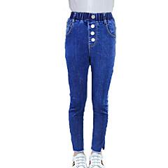 billige Jeans til piger-Børn Pige Gade / Punk & gotisk Sport Ensfarvet Hul / Delt Bomuld Jeans