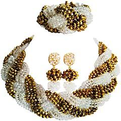 baratos Conjuntos de Bijuteria-Mulheres Camadas Conjunto de jóias - MOON Fashion Incluir Strands Necklace Vermelho / Rosa / Champanhe Para Festa / Graduação