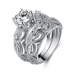 billige Motering-Dame Kubisk Zirkonium Double Twine Band Ring - S925 Sterling Sølv Blomst Vintage, Elegant 6 / 7 / 8 Sølv Til Bryllup / Engasjement / Seremoni / 2pcs