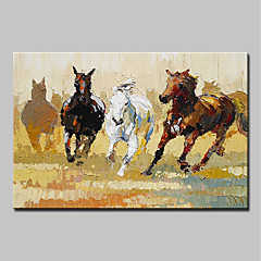 billiga Oljemålningar-Hang målad oljemålning HANDMÅLAD - Tecknat Popkonst Moderna Inkludera innerram / Sträckt kanfas