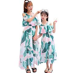 billige Sett med familieklær-Barn Mamma og meg Aktiv Blomstret Trykt mønster Kortermet Maksi Kjole