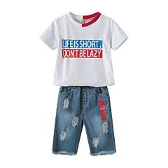 billige Tøjsæt til drenge-Børn Drenge Trykt mønster / Patchwork Kortærmet Tøjsæt
