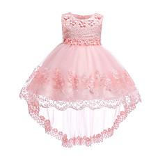 billige Babykjoler-Baby Pige Vintage I-byen-tøj / Fødselsdag Ensfarvet Uden ærmer Knælang / Asymmetrisk Bomuld / Polyester Kjole Hvid 100