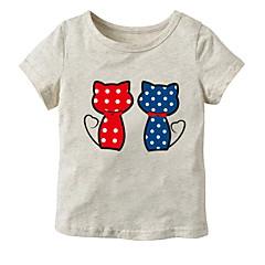 baratos Roupas de Meninas-Bébé Para Meninas Sólido Manga Curta Camiseta