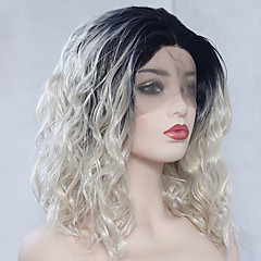 cheap Wigs & Hair Pieces-Synthetic Lace Front Wig / Cosplay Wig Women's Wavy Blonde Middle Part Synthetic Hair 14-18 inch Heat Resistant / Women / Color Gradient Blonde Wig Long Lace Front Black / Blonde / Glueless