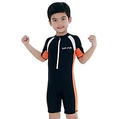 billige Badetøj til drenge-Børn Drenge Aktiv / Sexet Sport / Strand Ensfarvet Kort Ærme Bomuld / Akryl Badetøj Blå