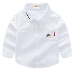 billige Overdele til drenge-Børn Drenge Basale Daglig Trykt mønster Broderi Langærmet Normal Bomuld Skjorte Blå