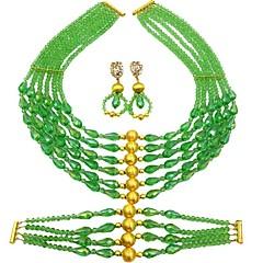 baratos Conjuntos de Bijuteria-Mulheres Camadas Conjunto de jóias - Cristal Austríaco Pêra Fashion Incluir Strands Necklace Verde / Rosa / Champanhe Para Diário