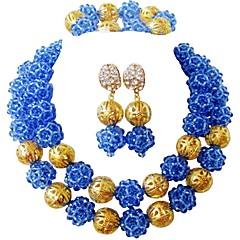 baratos Conjuntos de Bijuteria-Mulheres Camadas Conjunto de jóias - MOON Fashion Incluir Strands Necklace Azul / Rosa / Champanhe Para Casamento / Festa