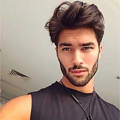 Недорогие Парики и накладки-Муж. Натуральные волосы Накладки для мужчин Волнистый 100% ручная работа Мягкость