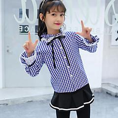 billige Pigetoppe-Børn Pige Aktiv / Gade Daglig / I-byen-tøj Ternet / Patchwork Blonder Langærmet Normal Rayon / Polyester Skjorte Blå 140