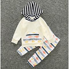 billige Sett med babyklær-Baby Pige Basale Stribet / Trykt mønster Langærmet Bomuld Tøjsæt