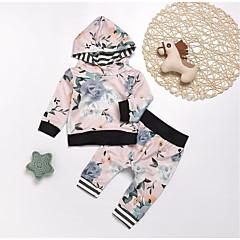 billige Sett med babyklær-Baby Pige Aktiv / Basale Sport Blomstret / Trykt mønster Langærmet Lang Bomuld Tøjsæt