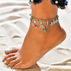 baratos Bijoux de Corps-Turquesa Camadas Tornezeleira tornozeleira - Formato de Folha, Tartaruga Pingente, Borla, Boêmio Prata Para Feriado Bikini Mulheres