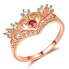 billige Motering-Dame Elegant Ring - Gullplatert rose, Fuskediamant Krone trendy, Mote, Elegant 5 / 6 / 7 Rose Gull Til Stevnemøte / Bursdag