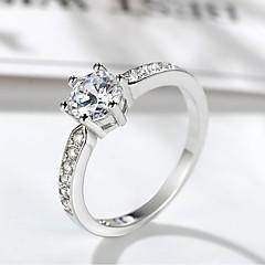 billige Motering-Dame Elegant Solitaire Ring - Platin Belagt, Fuskediamant Dyrebar Unikt design, trendy, Elegant 5 / 6 / 7 / 8 / 9 Sølv Til Formell Arbeid
