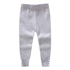 billige Bukser og leggings til piger-Børn Pige Vintage Ensfarvet Bomuld Bukser Sort 100