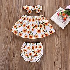 billige Babytøj-Baby Pige Afslappet / Aktiv Daglig / Strand Sun Flower Blomstret Trykt mønster Uden ærmer Kort Kort Bomuld / Akryl / Nylon Tøjsæt Regnbue