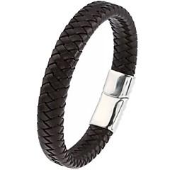 cheap Men's Bracelets-Men's Plaited Wrap Bracelet Bangles Leather Bracelet - Leather Classic, Basic, Hip-Hop Bracelet Jewelry Black For Party Daily Casual Sports