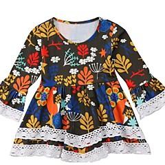 billige Babykjoler-Baby Pige Basale Farveblok Langærmet Polyester Kjole Gul