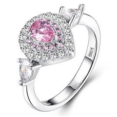 billige Motering-Dame Kubisk Zirkonium Stable Ring - Platin Belagt, S925 Sterling Sølv Romantikk 5 / 6 / 7 Sølv Til Gave / Valentine