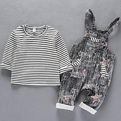 billige Tøjsæt til piger-Børn Pige Stribet / Trykt mønster Kortærmet Tøjsæt