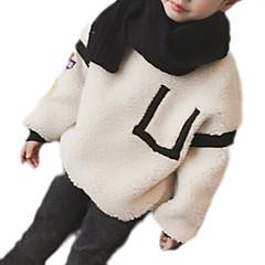 billige Hættetrøjer og sweatshirts til piger-Børn Pige Basale Daglig Ensfarvet / Patchwork Langærmet Normal Polyester Hættetrøje og sweatshirt Kakifarvet
