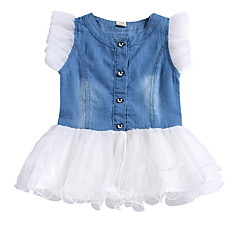 billige Babykjoler-Baby Pige Farveblok Kortærmet Kjole